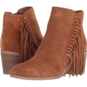 Kenneth Cole Rowdy Suede Brown Fringe Booties 10